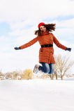 Woman jumping up Royalty Free Stock Photography