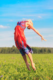 Woman jumps stock photography