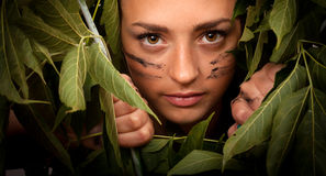 Woman in the jungle Royalty Free Stock Photos