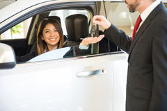 Woman just bought a new car Royalty Free Stock Images