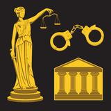 A woman of justice Themis holding scales and a sword, handcuffs, courthouse. Vector image vector illustration