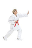 Woman in karate pose Royalty Free Stock Photography
