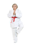 Woman in karate pose Royalty Free Stock Photo
