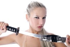 Woman with katana Royalty Free Stock Images
