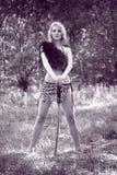 Woman with katana sword Stock Photos