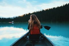 Woman in Kayak Stock Images