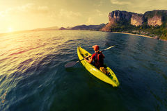 Woman with the kayak Royalty Free Stock Photography