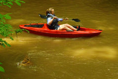 Woman in a Kayak at Pigg River Ramble Stock Photography