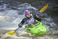 Woman Kayak racer Smiling Royalty Free Stock Photography