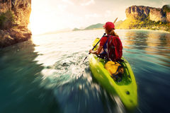 Woman with the kayak Royalty Free Stock Image