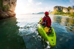 Woman with the kayak Stock Image