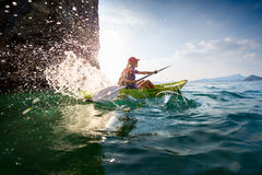 Woman with the kayak Royalty Free Stock Images