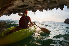 Woman on the kayak Stock Photography