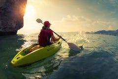 Woman on the kayak Stock Photo