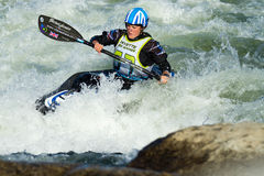 Woman kayaker in the waves Royalty Free Stock Photos
