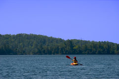 Woman Kayaking. A woman kayaks in the wilderness Stock Image
