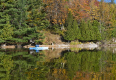 Woman Kayaking in Autumn on a Northern Lake Stock Image