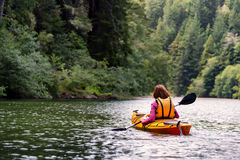 Woman kayaking on river in forest Royalty Free Stock Photography