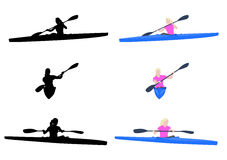 Woman kayaking. Silhouettes and illustration Stock Images