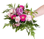 Woman keep bouquet Stock Photos