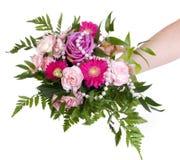 Woman keep bouquet Stock Photos