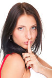 Woman keep quiet gesture finger on mouth isolated Royalty Free Stock Photos