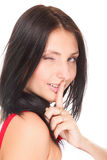Woman keep quiet gesture finger on mouth isolated Royalty Free Stock Photography