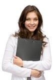 Woman keeping black folder Stock Photo