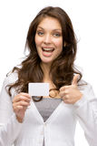 Woman keeping business card and thumbing up Stock Image