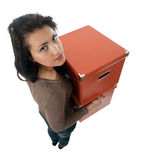 Woman keeping cardboard boxes Stock Images