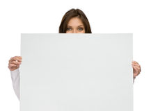 Woman keeping copyspace Stock Photo