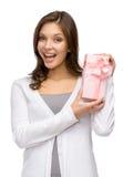Woman keeping present box Stock Photos