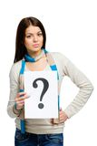 Woman keeping question mark Royalty Free Stock Photo