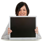Woman keeping screen of computer Stock Photos
