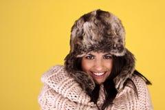 Woman keeping warm. Stock Image