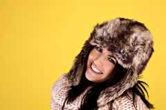 Woman keeping warm. Stock Photography