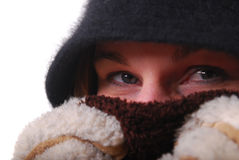 Woman keeping warm Stock Image
