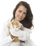 Woman keeping white ore cat Royalty Free Stock Photography