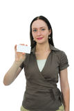 Woman keeps card Royalty Free Stock Photography