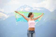Woman with kerchief is looking away Stock Photo
