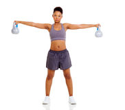 Woman kettle bell Stock Photo
