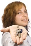 Woman and key Stock Image