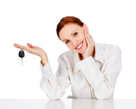 Woman with a key Stock Photos
