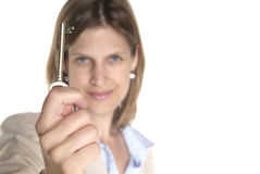 Woman and key Royalty Free Stock Photography