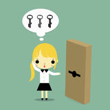 Woman with key and door Royalty Free Stock Photo