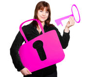 Woman with key and lock Royalty Free Stock Photo