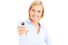 Woman with the key Stock Image