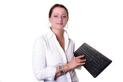 Woman with keyboard Royalty Free Stock Image