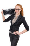 Woman with keyboard isolated Stock Photo