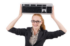 Woman with keyboard isolated Royalty Free Stock Photography
